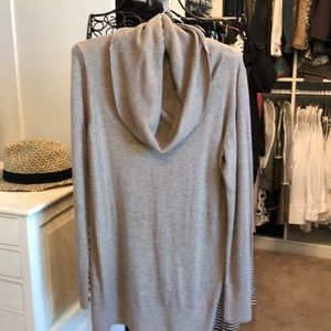 Tunic length cowl neck sweater